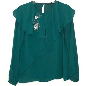 Zara Ruffle Layered Embroidered Top Blouse Z